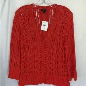 Talbots Pima Cotton Button Up Cardigan Large NWT